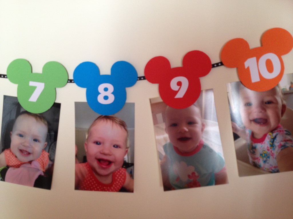 How to make a Mickey Mouse first year photo banner newborn to 12 months