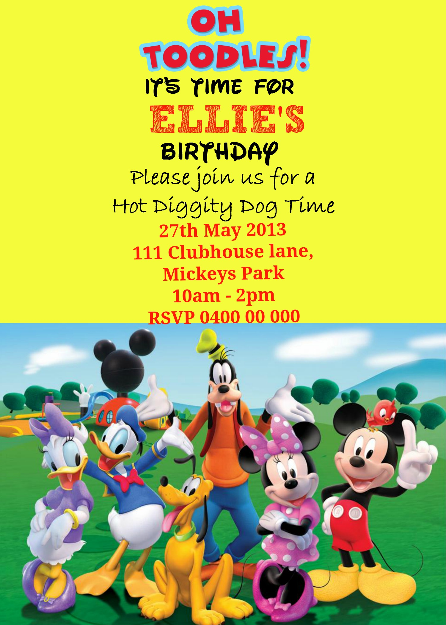 How to make a Mickey Mouse digital invitation with free image