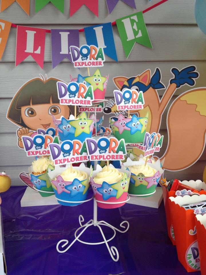 The Ultimate Dora The Explorer Party Setup FREE PRINTABLES - Dora birthday cake toppers