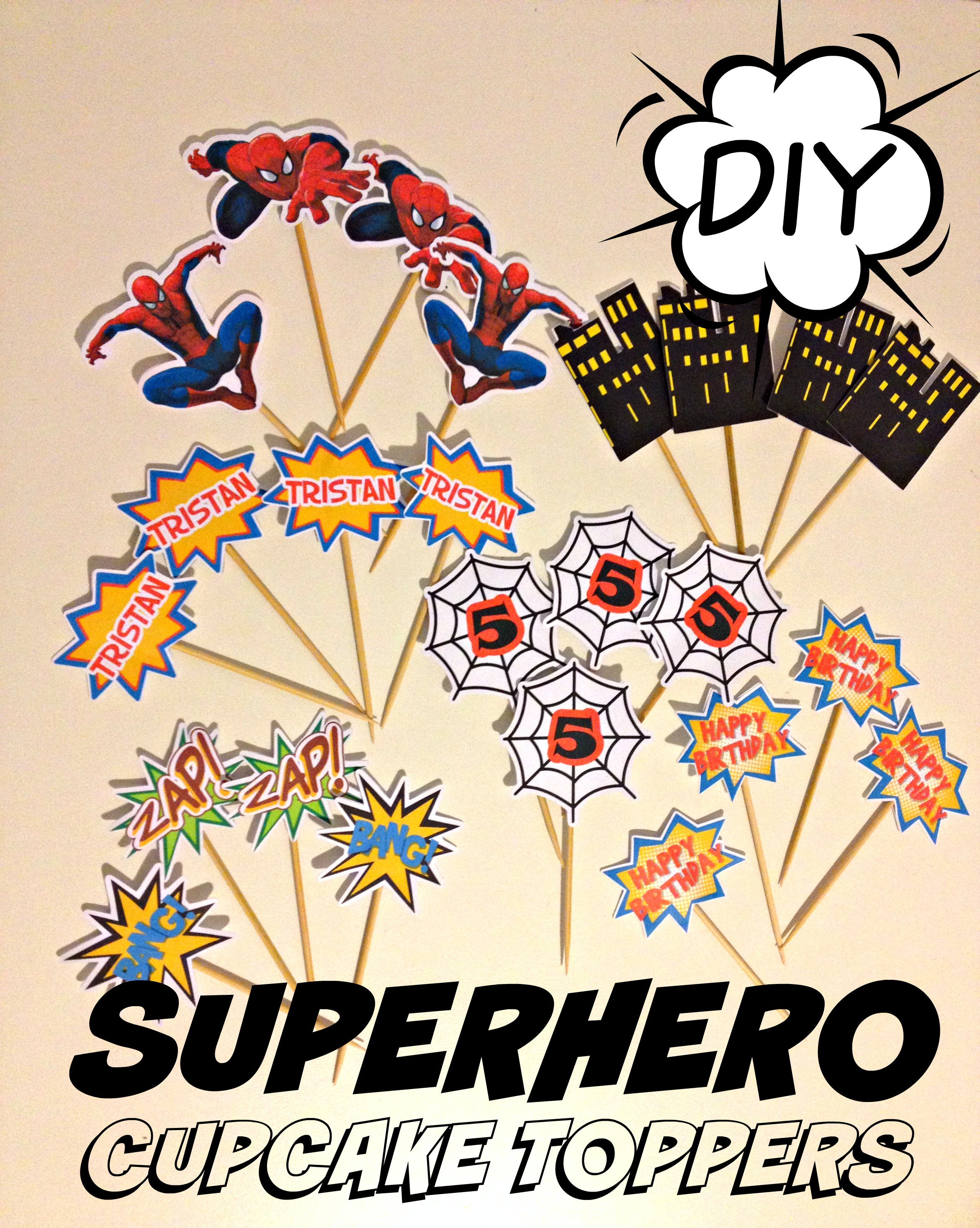 SPIDERMAN SUPERHERO CUPCAKE TOPPERS: DIY HOW TO MAKE AT HOME ...