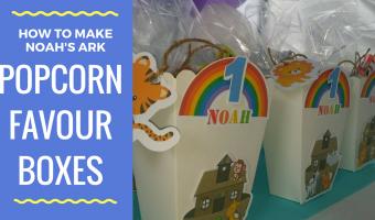 How to make DIY Noah's Ark Popcorn Favor Boxes PLUS Free Printables